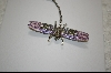 "**MBA #JCPDP  ""Artist Signed ""Janus"" Crystal And Enameled Purple Dragon Fly Pin"
