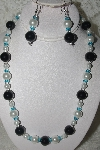 "MBAMG #003-162  ""One Of A Kind Black, White & Blue Bead Necklace & Earring Set"""