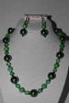 "MBAMG #018-168  ""One Of A Kind Green Bead Necklace & Earring Set"""