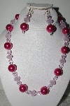"MBAMG #018-124  ""One Of A Kind Pink Bead Necklace & Earring Set"""