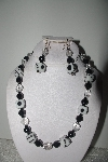 "MBAMG #018-090  ""One Of A Kind Black Onyx,Crystal Quartz & Dice Bead Necklace & Earring Set"""
