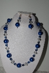 "MBAMG #018-103  ""One Of A Kind Blue Bead Necklace & Earring Set"""