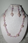 "MBAMG #018-084  ""Fancy Pink Bead Necklace & Earring Set"""