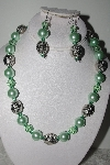 "MBAMG #018-075  ""One Of A Kind Green Bead Necklace & Earring Set"""