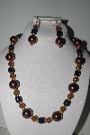"MBAMG #018-145  ""One Of A Kind Brown & Blue Bead Necklace & Earring Set"""