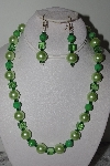 "MBAMG #019-158  ""One Of A Kind Green Bead Necklace & Earring Set"""