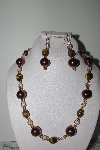 "MBAMG #019-154  ""One Of A Kind Tiger Eye,Brown & Pink Bead Necklace & Earring Set"""