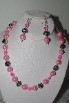 "MBAMG #019-172  ""One Of A Kind Pink & Silver Bead Necklace & Earring Set"""