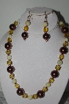"MBAMG #019-245  ""One Of A Kind Brown & Yellow Bead Necklace & Earring Set"""