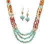"**MBAMG #T06-214   ""Garold Miller Multi Color  Triple Strand Acrylic Bead Necklace & Earring Set"""