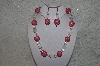 "MBAHB #24-038  ""One Of A Kind Pink, Clear & White Howlite Gemstone Bead Necklace & Earring Set"""
