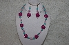 "MBAHB #24-043  ""One Of A Kind Pink Bead & Blue Magnesite Gemstone Bead Necklace & Earring Set"""