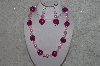 "MBAHB #24-048  ""One Of A Kink Pink & Clear Bead Necklace & Earring Set"""