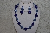 "MBAHB #24-088  ""One Of A Kind Blue & Clear Bead Necklace & Earring Set"""