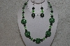 "MBAHB #24-118  ""One OF A Kind Green Bead Necklace & Earring Set"""