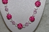 "MBAHB #24-223  ""One Of A Kind Clear & Pink Bead Necklace & Earring Set"""