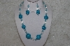 "MBAHB #24-217  ""One Of A Kind Clear & Blue Bead Necklace & Earring Set"""