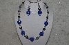 "MBAHB #24-202  ""One Of A Kind Blue Bead & German Silver Bead Necklace & Earring Set"""