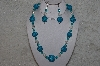 "MBAHB #24-188  ""One Of A Kind Clear & Blue Bead Necklace & Earring Set"""