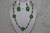 "MBAHB #24-183  ""One Of A Kind Green & Pink Bead Necklace & Earring Set"""