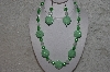 "MBAHB #24-178  ""One Of A Kind Green & Clear Bead Necklace & Earring Set"""