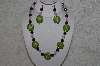"MBAHB #24-147  ""One Of A Kind Green, Pink & Green Jade Bead Necklace & Earring Set"""