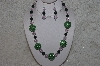 "MBAHB #24-136  ""One Of A Kind Green, Pink & Jade Necklace & Earring Set"""