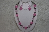 "MBAHB #24-123  ""One Of A Kind Pink Bead & German Silver Bead Necklace & Earring Set"""