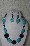 "MBAHB #31-002  ""One Of A Kind Blue/Green Chalk Turquoise & Black Bead Necklace & Earring Set"""