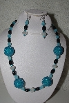 "MBAHB #31-019  ""One Of A Kind Blue & Black Glass Bead Necklace & Earring Set"""