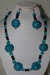 "MBAHB #31-035  ""One Of A Kind Blue & Black Bead Necklace & Earring Set"""