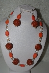 "MBAHB #31-052  ""One Of A Kind Orange & Clear Glass Bead Necklace & Earring Set"""