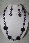 "MBAHB #31-057  ""One Of A Kind Purple & Black Bead Necklace & Earring Set"""