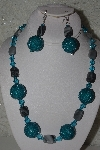 "MBAHB #31-063  ""One Of A Kind Blue & Grey Bead Necklace & Earring Set"""