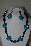 "MBAHB #31-083  ""One Of A Kind Blue & Black Bead Necklace & Earring Set"""