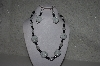 "MBAHB #31-090  "" One Of A Kind White, Clear & Black Bead Necklace & Earring Set"""
