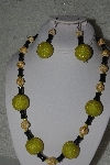 "MBAHB #31-099  ""One Of A Kind Yellow & Black Bead Necklace & Earring Set"""