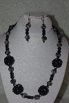 "MBAHB #31-115  ""One Of A Kind Grey & Black Bead Necklace & Earring Set"""