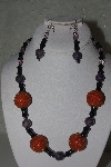 "MBAHB #31-136  ""One Of A Kind Orange, Black & Purple Bead Necklace & Earring Set"""