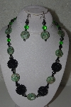 "MBAHB #31-151  ""One Of A Kind Green & Black Bead Necklace & Earring Set"""