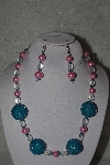 "MBAHB #31-188  ""One Of a Kind Pink, Blue & Clear Bead Necklace & Earring Set"""