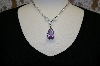Charles Winston Lavender Pear Drop Cz Necklace