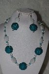 "MBAHB #31-184  ""One Of A Kind Blue, Clear & White Bead Necklace & Earring Set"""