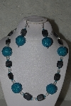 "MBAHB #31-155  ""One Of A Kind Blue, Grey & Clear Bead Necklace & Earring Set"""