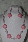"MBAHB #31-199  ""One Of A Kind Pink & Clear Glass Bead Necklace & Earring Set"""