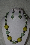 "MBAHB #31-167  ""One Of A Kind Yellow & Green Bead Necklace & Earring Set"""