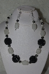 "MBAHB #31-178  ""One Of A Kind Black & White Bead Necklace & Earring Set"""