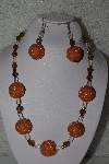 "MBAHB #32-002  ""One Of A Kind Orange, Clear & Brown Bead Necklace & Earring Set"""