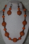 "MBAHB #32-07  ""One Of A Kind Orange & Brown Bead Necklace & Earring Set"""