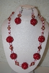"MBAHB #32-019  ""One Of a Kind Red & Clear Bead Necklace & Earring Set"""